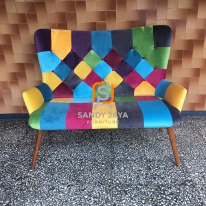 Sofa scandinavian 2 seaters - sofa shabby - sofa patchwork - bangku
