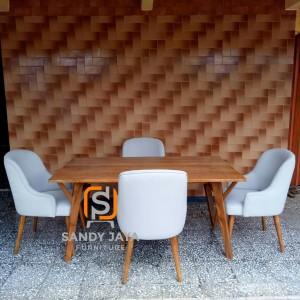 Set Kursi makan scandinavian - set kursi cafe modern jati - bangku