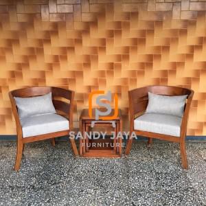Set Kursi teras cantik modern - set kursi cafe jati - set kursi resto