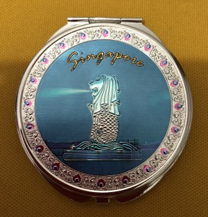 Cermin Lipat Singapore Merlion Biru