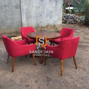 Set meja makan bundar 1m, set meja makan jati minimalis, kursi scandi