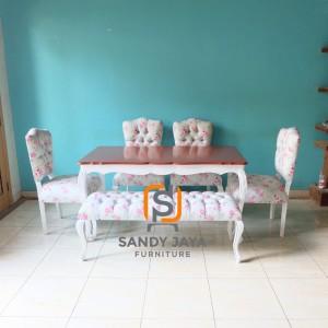 Set sofa kursi bangku makan shabby, set meja makan shabbychic