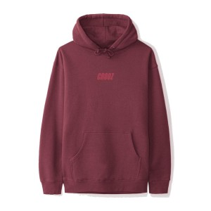 Crooz Italics OG Embroidered Pullover hoodie maroon