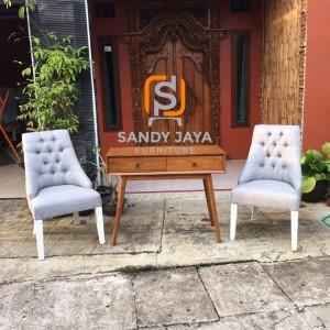1 set kursi santai dan meja konsul minimalis jati, kursi makan jati