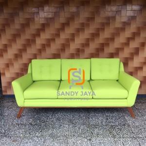 Sofa santai keluarga line green, sofa jengki 3 dudukan