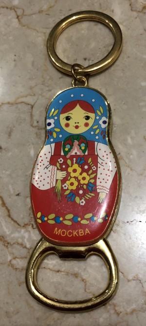 Gantungan Kunci Pembuka Botol Boneka Matrioska Rusia biru