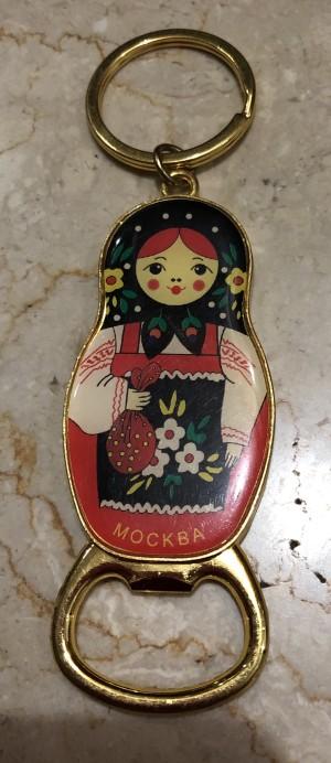 Gantungan Kunci Pembuka Botol Boneka Matrioska Rusia merah