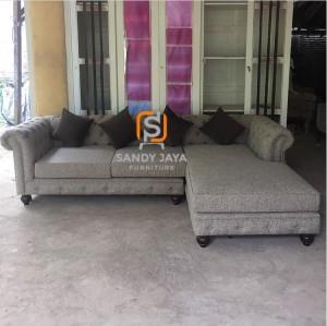 Sofa sudut chesterfield, sofa L modern, sofa cafe resto mewah