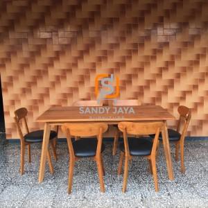 Set kursi makan scandinavian retro, set kursi cafe resto scandinavian