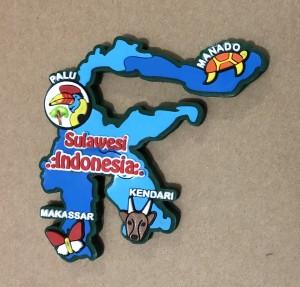 Magnet Kulkas Pulau Sulawesi biru tua