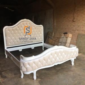 Tempat tidur shabbychic, divan mewah, ranjang mewah, dipan putih duco