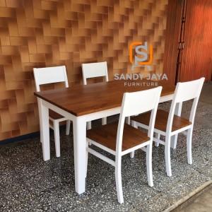 Set meja makan duco natural, set kursi makan putih duco, kursi cafe
