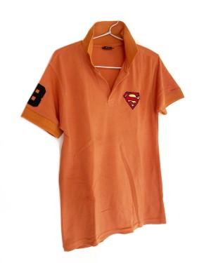 Polo Shirt Kaos Orange Logo Superman