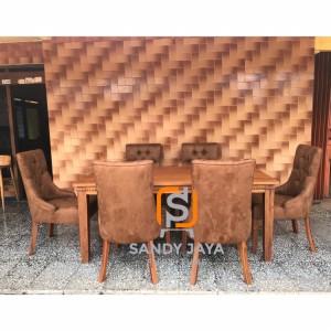 Set kursi makan modern minimalis, set meja makan hotel cafe minimalis