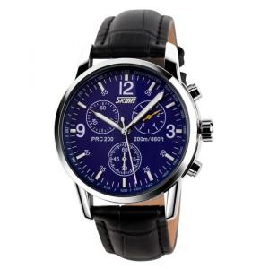 Jam Tangan SKMEI 9070 CL Black Leather Blue
