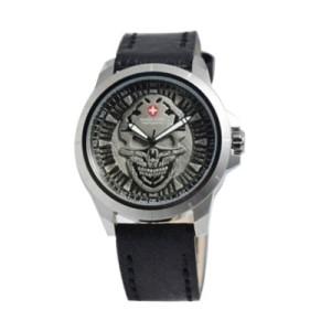 Jam Tangan Swiss Army 3010 Skull Silver Black