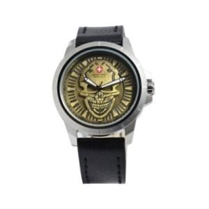 Jam Tangan Swiss Army 3010 Skull Silver Black Gold