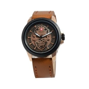 Jam Tangan Swiss Army 3010 Skull Brown Rose Gold