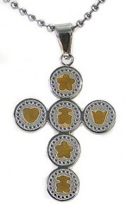 kalung salib Gold Bear Cross