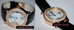 Chopard Heart Swarovski Leather Black