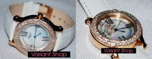 Chopard Heart Swarovski Leather White