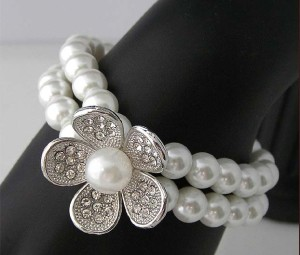 Bracelet/Gelang Flower Crystal & Pearl