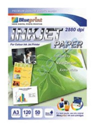 Blueprint Inkjet Paper (BP-IPA3120) - A3, 50 Sheet, 120 Gsm, Cast Coating, Extra White, Water Resist