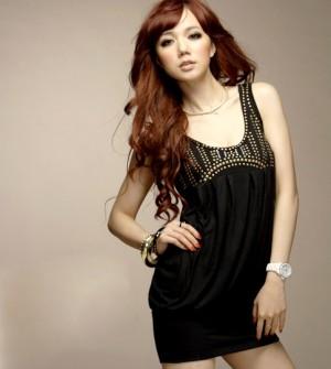 Golden Rivet Black Dress