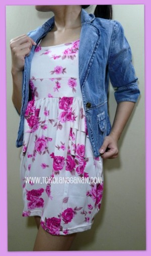 Dress Floral White- U can See (Lengan Buntung)