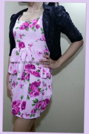Dress Floral White- U can See (Lengan Buntung)