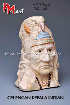 celengan kepala indian
