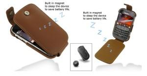 PDAIR Leather Case FLIP Blackberry Dakota 9900 9930 Brown