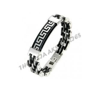 Black & Silver Great Wall pattern bracelet
