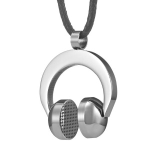 Rock n Roll Stainless Steel DJ Headphone Necklace Pendant Mens Chain