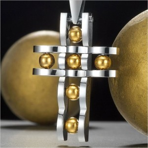 Unique Stainless Steel Spheroid Cross Mens Pendant Necklace