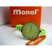 GREEN COLOR WATCH MONOL WATER RESISTANT STAINLESS STEEL BACK, SPORTY BERMUTU TRENDY & BERKUALITAS