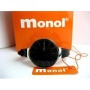 BLACK COLOR WATCH MONOL WATER RESISTANT STAINLESS STEEL BACK, SPORTY BERMUTU TRENDY & BERKUALITAS.