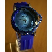 JAM TANGAN MONOL BLUE CRYSTAL DIAMOND SUPER ORIGINAL