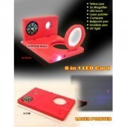 8 IN 1 LED CARD TOUCH COMPASS PEN LASER MAGNIFIER