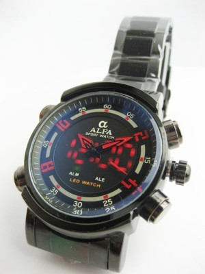 JAM TANGAN PRIA ALFA FOZ DUAL-TIME (BLACK RED)