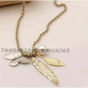 Silver butterfly gold leaves necklaces