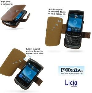 Pdair Original Leather Case Book Blackberry Torch 9800 Brown