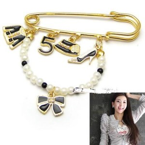 5th bow high heels clothes pearl brooch