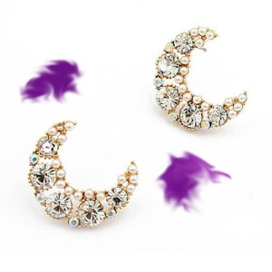 Exquisite Pearl Crescent Decorated with Rhinestones Design Earrings