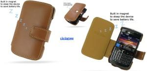Pdair Original Leather Case Book Blackberry Onyx 9700 / 9780 Brown