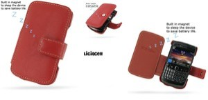 Pdair Original Leather Case Book Blackberry Onyx 9700 / 9780 Red