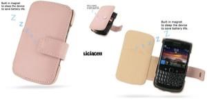Pdair Original Leather Case Book Blackberry Onyx 9700 / 9780 Pink