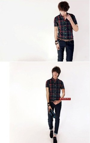 Kemeja Lengan Pendek Kotak Kotak Hijau S.1005 Korean Style Size L - XL - XXL