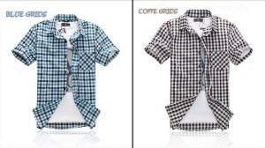 Kemeja Lengan Pendek SMALL GRIDS S.1013 Korean Style Size L - XL