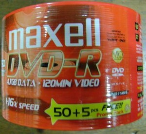 Maxell DVD-R 16x Isi 50pcs FREE 5pcs